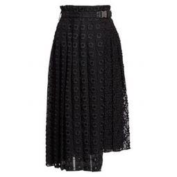 Pleated Midi Sangallo Organza Wrap Skirt