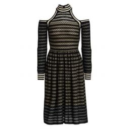 Cutout Shoulder Waffle-Knit Dress
