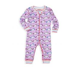 Baby Girls Rainbow Unicorns One-Piece Pajamas