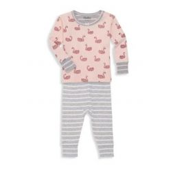 Baby Girls Two-Piece Swan Like Organic Cotton Top & Bottom Set