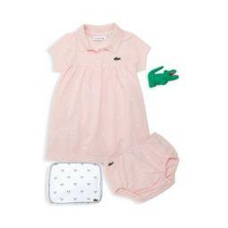 Baby Girls Four-Piece Polo Dress, Bloomer, Pouch & Alligator Plush Set