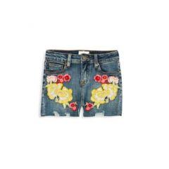Girls Garden Floral Embroidered Denim Shorts