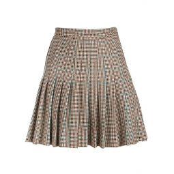 Check Pleated Wool Mini Skirt