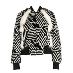 Faux-Fur Zebra Monogram Bomber Jacket