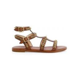 Haddie Chains Leather Gladiator Sandals