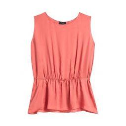 Shirred Silk Sleeveless Top