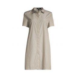 Striped Short-Sleeve Shirtdress