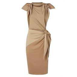 Knotted Stretch-Silk Sheath Dress