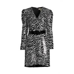 Zebra-Print Sequin Dress