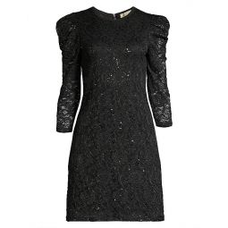 Puff Sleeve Sequin Lace Dress