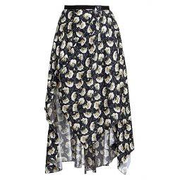 Asymmetrical Bouquet Print Skirt