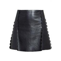 Scalloped Leather Mini Skirt