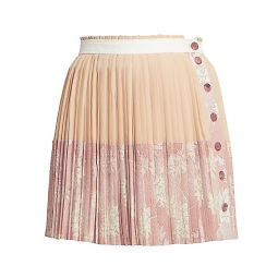Pleated Floral Button Silk Mini Skirt