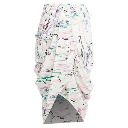 Fetina Printed Drape Stretch-Silk Skirt