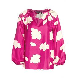 Floral V-Neck Puff-Sleeve Silk Blouse
