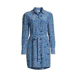 Rosalee Floral Silk Shirt Dress
