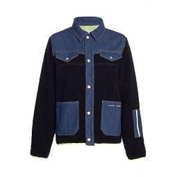 Dorne Mixed-Media Fleece Denim Jacket