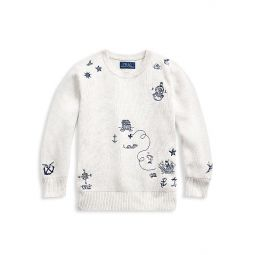 Little Boys & Boys Embroidered Cotton Sweater