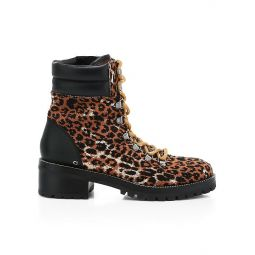 Lorren Leopard-Print Tweed & Leather Hiker Boots