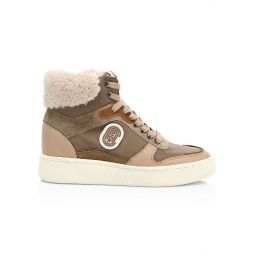 C220 Shearling-Trim High-Top Sneakers
