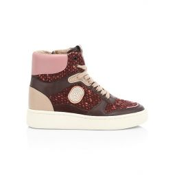 C220 Tweed & Leather High-Top Sneakers