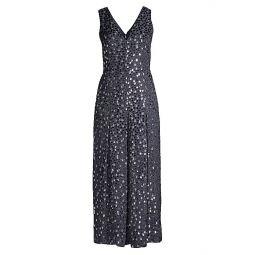 Velvet Dotted Cropped Silk-Blend Jumpsuit