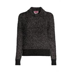 Textured Sparkle Polo Sweater
