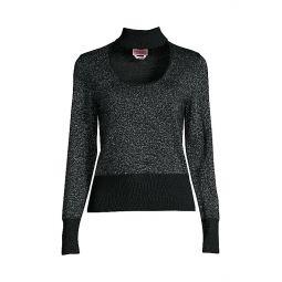Metallic Choker Sweater