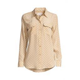 Signature Slim-Fit Polka Dot Silk Shirt