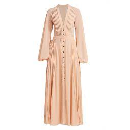 Pleated Long Sleeve Maxi Dress