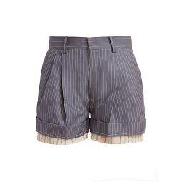 Layered Cuff Pinstripe Shorts