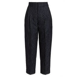 Wool Pinstripe Cropped Trousers