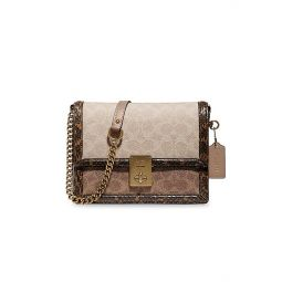 Hutton Snakeskin, Leather & Signature Coated Canvas Crossbody Bag