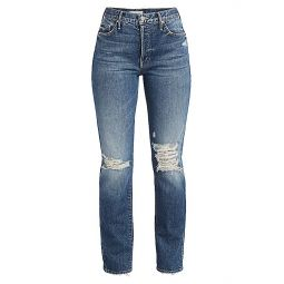 The Trickster High-Rise Crop Straight-Leg Destructed Jeans