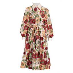 Runway Lurex Dot Lace Applique Cotton Tiered Dress