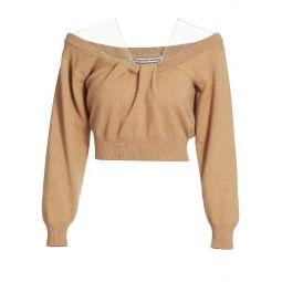 Cropped Off-The-Shoulder Wool-Blend Sweater