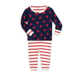 Baby Girls Two-Piece Smiling Apples Pajama Set