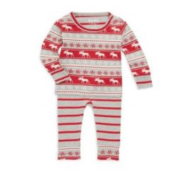 Baby Boys Two-Piece Fair Isle Moose Pajama Set