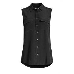 Slim Signature Silk Sleeveless Shirt