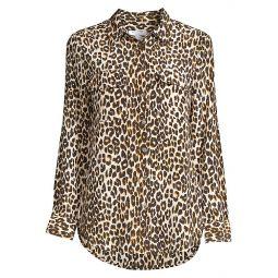 Slim Signature Silk Leopard Print Shirt