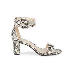 Snakeskin-Embossed Stack Heel Sandals
