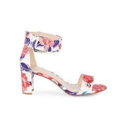 Floral Stack Heel Sandals