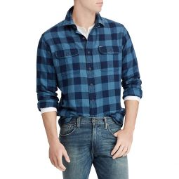Classic-Fit Indigo Checker Shirt