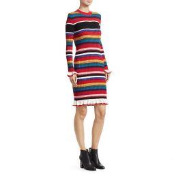 Striped Rib-Knit Sweater Dress