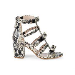 Giovanna Snake-Embossed Studded Sandals