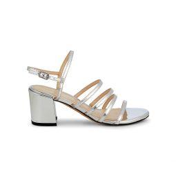 Metallic Block-Heel Slingback Sandals