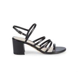 Unique 3-V Faux Leather Heeled Sandals