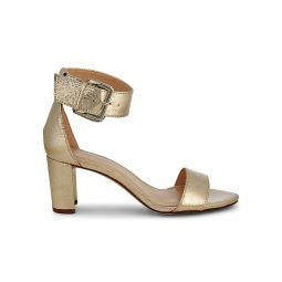 Crinkled Metallic Ankle-Strap Sandals