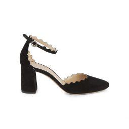 Lauren Ankle-Strap Suede Block Heel Pumps
