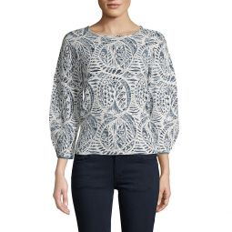 Jacquard Balloon-Sleeve Sweater